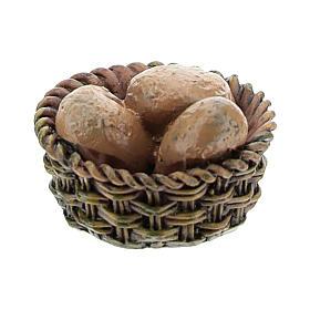 Panier avec pain en résine 1x2x2 cm pour crèche 8-10 cm s2