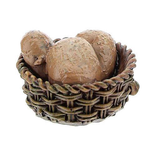 Panier avec pain en résine 1x2x2 cm pour crèche 8-10 cm 1