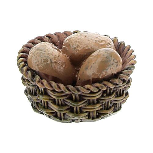 Panier avec pain en résine 1x2x2 cm pour crèche 8-10 cm 2