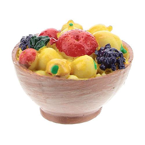 Cesta con fruta de resina 2x3x3 cm para belén 8-10 cm 2