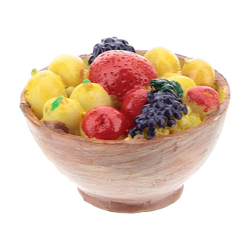 Cesta com fruta em resina 2x3x3 cm para presépio com figuras de 14-16 cm de altura média 1
