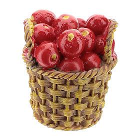 Comida en miniatura: Cesta con fruta de resina 5x3x3 cm para belén 8-10 cm