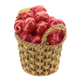 Cesto con frutta in resina 5x3x3 cm per presepe 14-16 cm s2