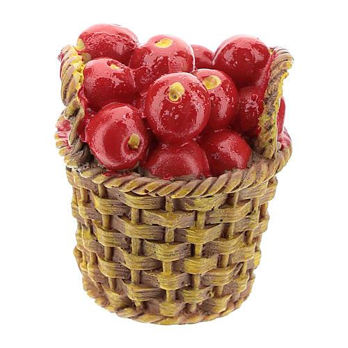 Cesta com fruta em resina 5x3x3 cm para presépio com peças de 14-16 cm de altura média 1