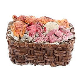Fish basket in resin 1x3x3 cm, for 8-10 cm nativity s3