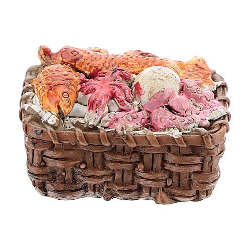 Fish basket in resin 1x3x3 cm, for 8-10 cm nativity 3