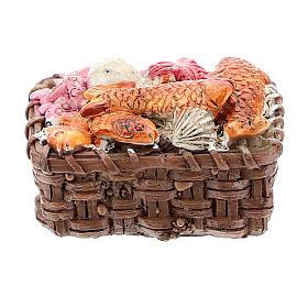 Comida em Miniatura para Presépio: Cesta com peixe em resina 1x3x3 cm para presépio com figuras de 8-10 cm de altura média