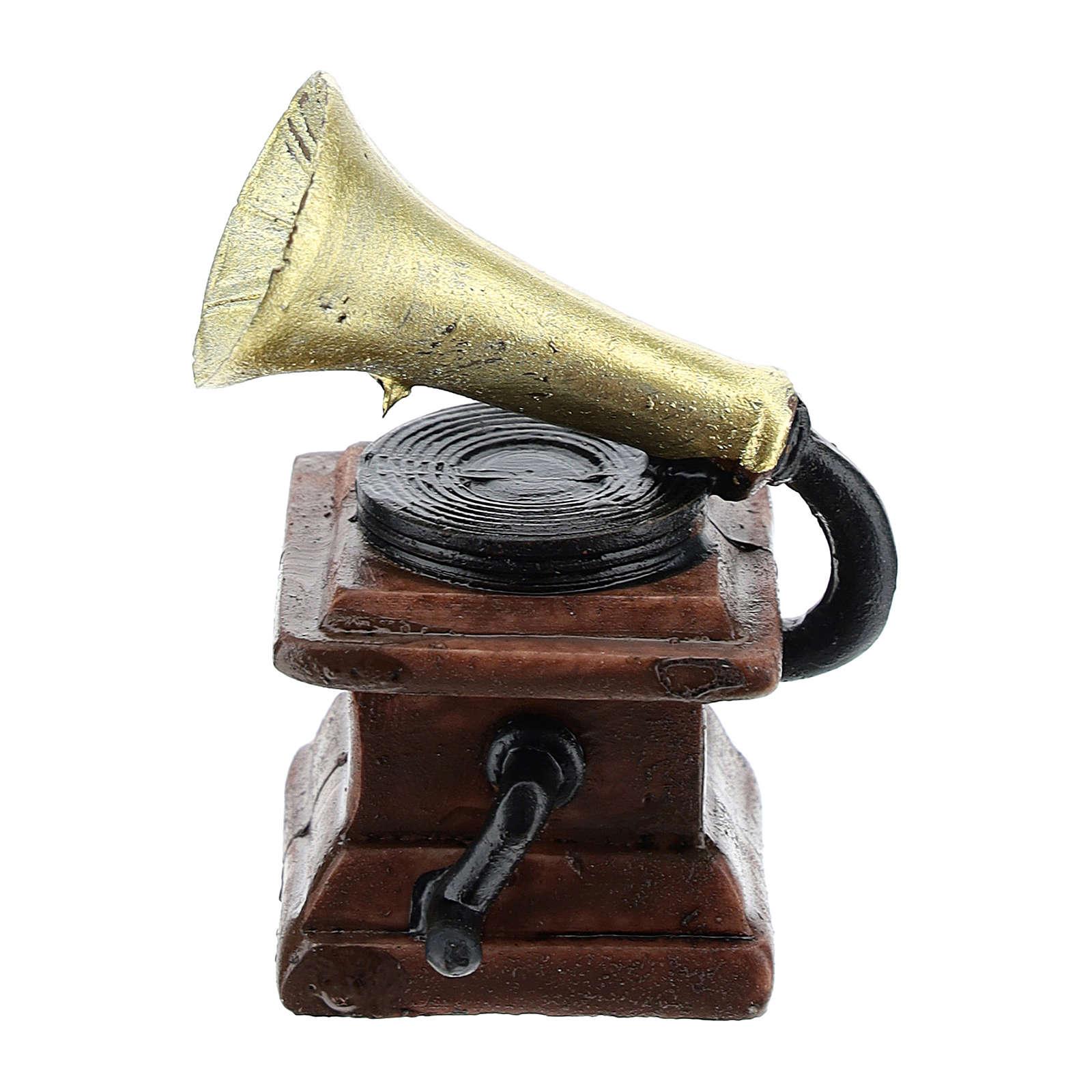 Gramophone en résine 5x3x3 cm pour crèche 8-10 cm 4