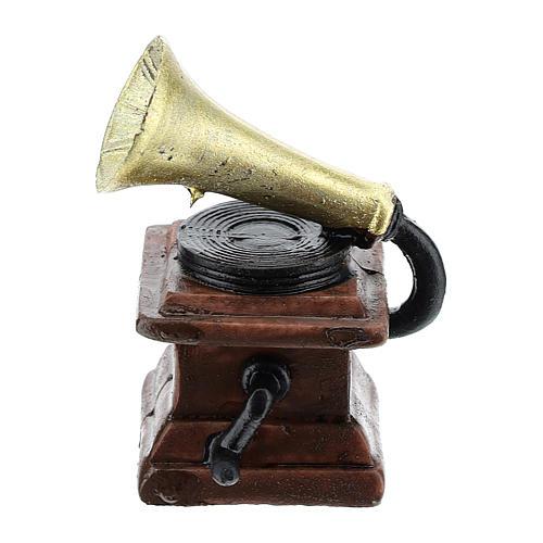 Gramophone en résine 5x3x3 cm pour crèche 8-10 cm 1