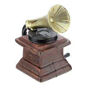Gramofone em resina 5x3x3 cm para presépio com figuras de 14-16 cm de altura média s3