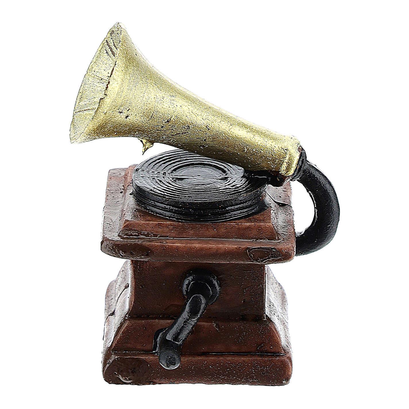 Gramophone in resin 5x3x3 cm, for 14-16 cm nativity 4
