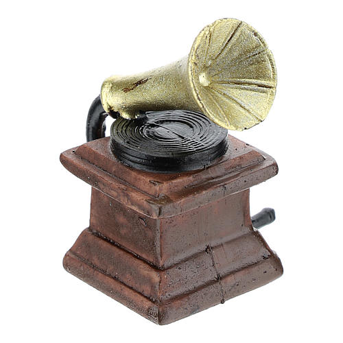 Gramophone in resin 5x3x3 cm, for 8-10 cm nativity 3