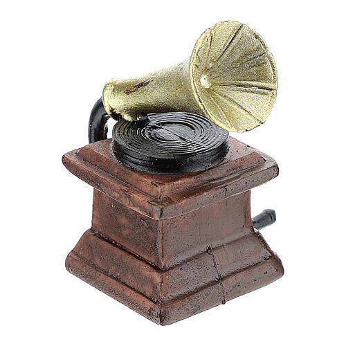 Gramophone in resin 5x3x3 cm, for 14-16 cm nativity 3