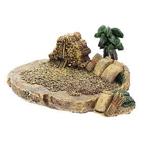 Campo de trigo de resina de 4x7x10 cm para belén 4 cm s2