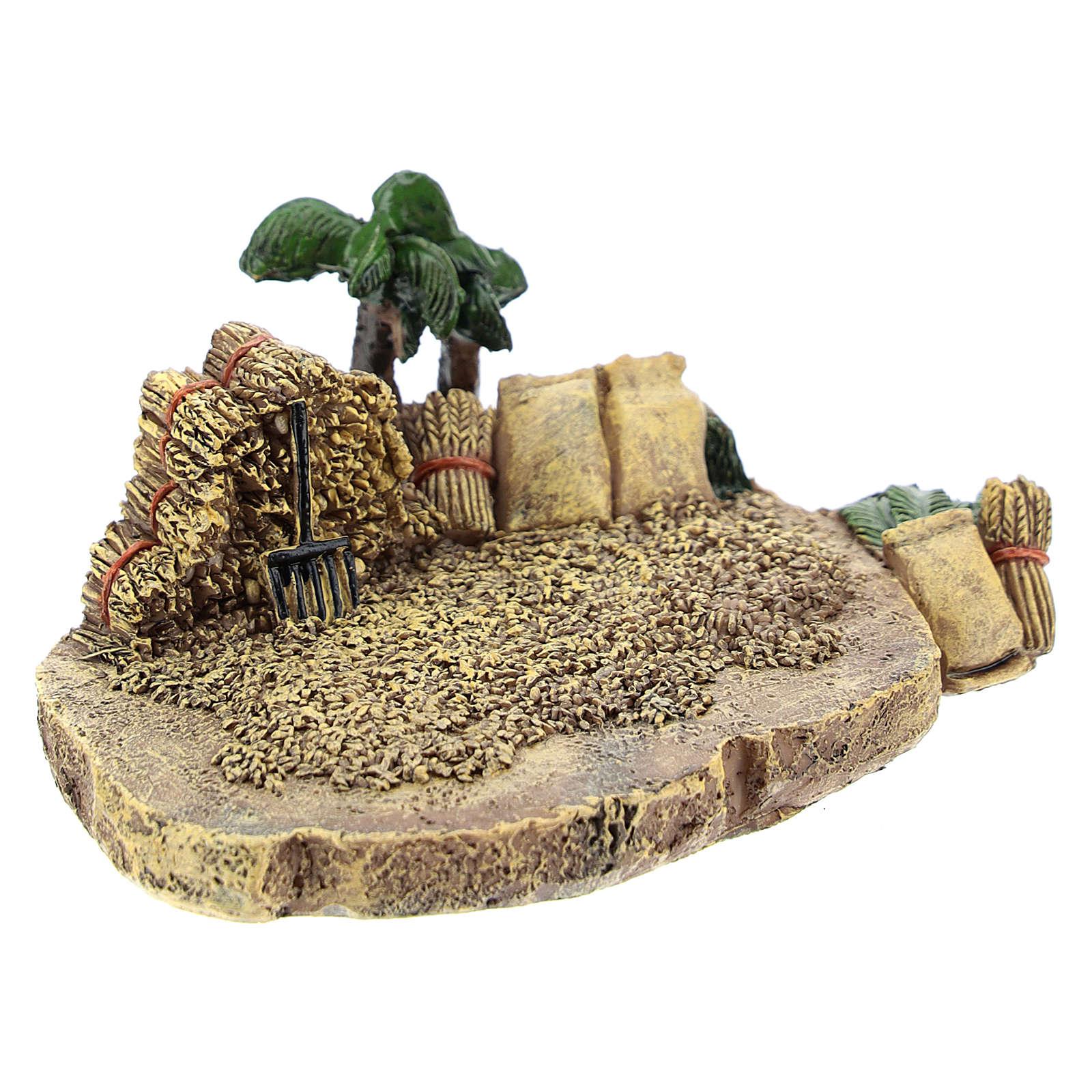 Campo de trigo em resina 4x7x10 cm para presépio com figuras de 4 cm de altura média 4