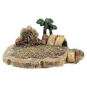 Campo de trigo em resina 4x7x10 cm para presépio com figuras de 4 cm de altura média s1