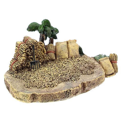 Campo de trigo em resina 4x7x10 cm para presépio com figuras de 4 cm de altura média 3