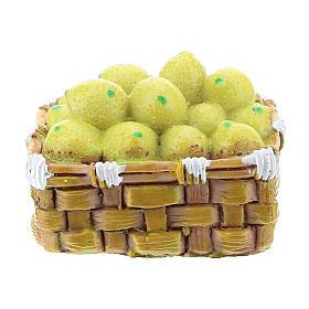 Cesta con hortalizas de resina para belén hecho con bricolaje 8-10 cm s1