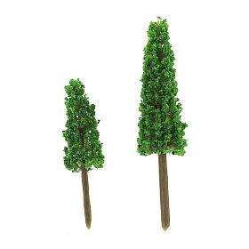 Set arbres cyprès 2 pcs pour bricolage crèche h réelle 6-9 cm s2