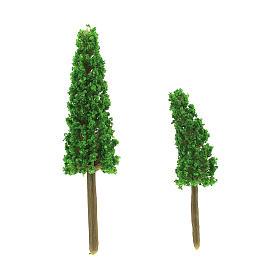 Muschio, licheni, piante, pavimentazioni: Set alberi cipressi 2 pz per presepe fai da te h reale 6-9 cm