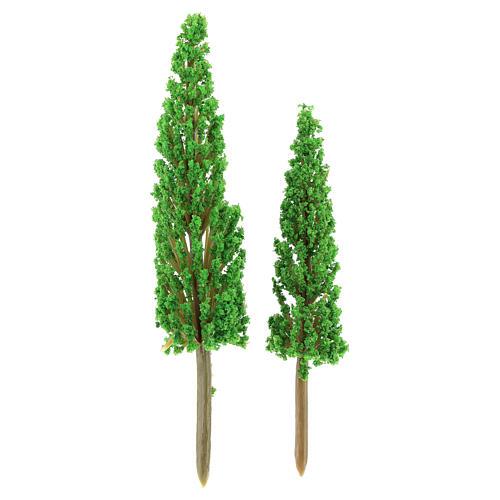 Set alberi cipressi 2 pz per h reale 11-14 cm presepe fai da te 1