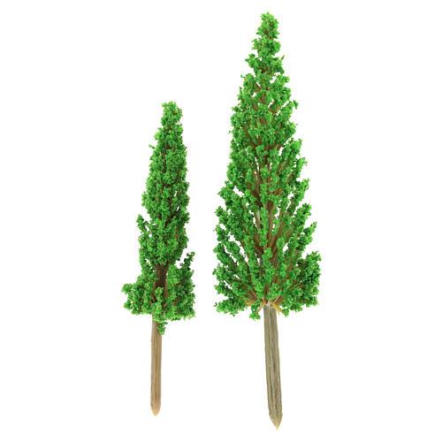Set alberi cipressi 2 pz per h reale 11-14 cm presepe fai da te 2
