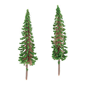 Cypress tree set 2 pcs for DIY Nativity scene real h 6.5 cm s2