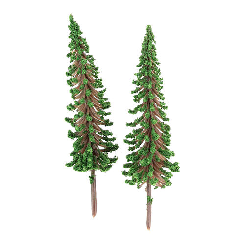 Cypress tree set 2 pcs for DIY Nativity scene real h 6.5 cm 1