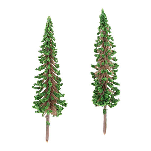 Cypress tree set 2 pcs for DIY Nativity scene real h 6.5 cm 2