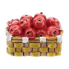 Aliments en miniature: Panier avec pommes en résine 3x4x3 cm pour crèche 6-8 cm