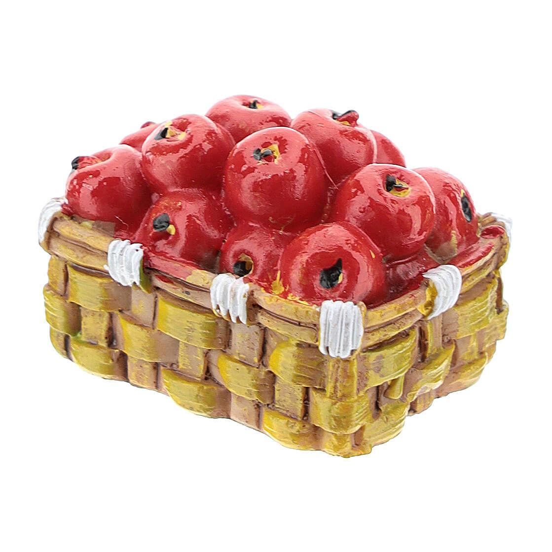 Kosz z jabłkami z żywicy 3x4x3 cm do szopki 6-8 cm 4