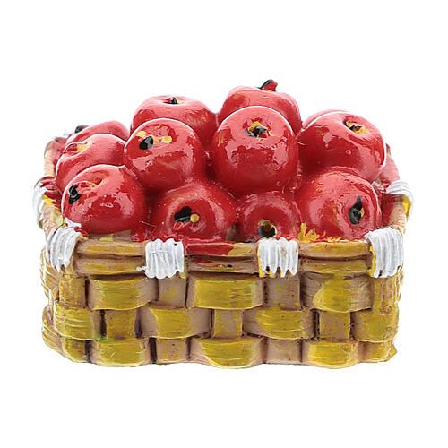 Kosz z jabłkami z żywicy 3x4x3 cm do szopki 6-8 cm 1