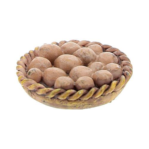 Basket with resin eggs 2x2x3 cm for Nativity scene 8-10 cm 1
