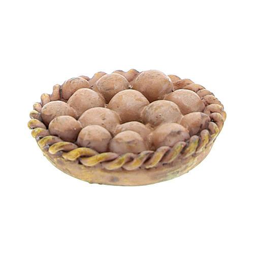 Basket with resin eggs 2x2x3 cm for Nativity scene 8-10 cm 2