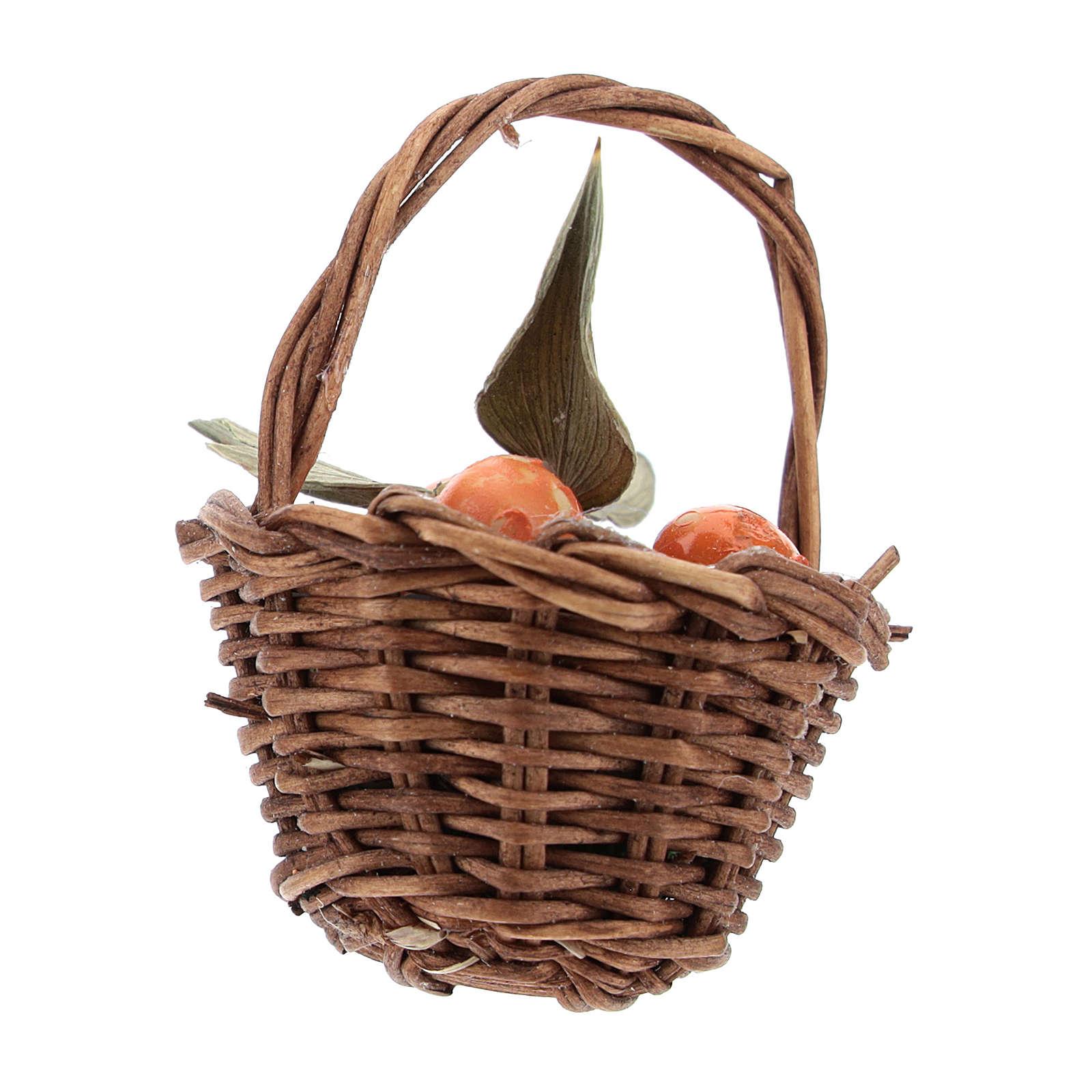 Orange basket with handle for Nativity scenes of 12 cm 4