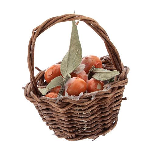 Orange basket with handle for Nativity scenes of 12 cm 1