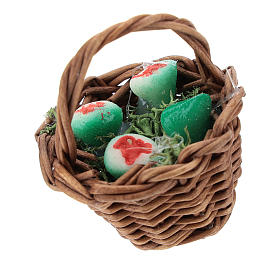 Basket with prickly pears and handle Nativity scenes 12 cm s1