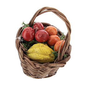 Basket with mixed fruit and handle Nativity scenes 12 cm s1