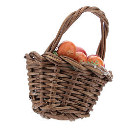 Basket with mixed fruit and handle Nativity scenes 12 cm s2
