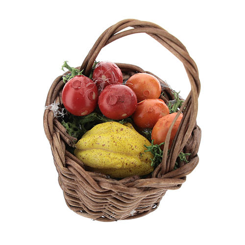 Basket with mixed fruit and handle Nativity scenes 12 cm 1