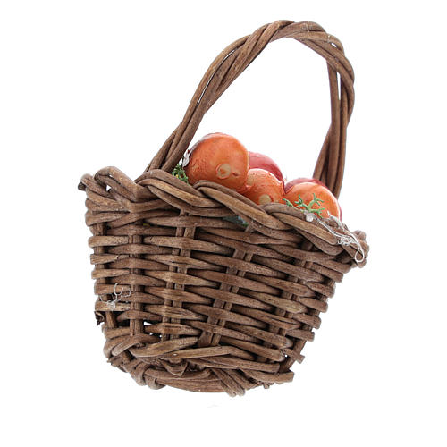 Basket with mixed fruit and handle Nativity scenes 12 cm 2