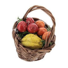 Panier fruits mixtes avec anse pour crèche de 12 cm s1