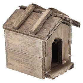 Simple wooden kennel for Nativity scenes of 10 cm s3