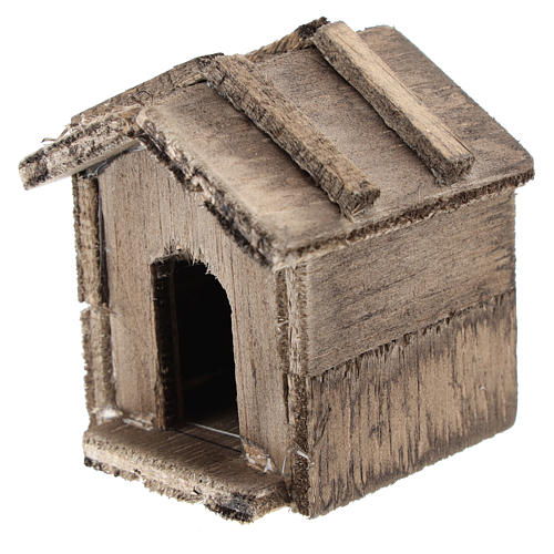 Simple wooden kennel for Nativity scenes of 10 cm 2