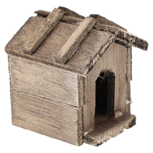 Simple wooden kennel for Nativity scenes of 10 cm 3