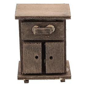 Presépio Napolitano: Mesa de cabeceira em madeira para presépio com figuras de 11 cm de altura média
