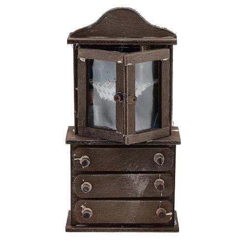 Credenza con cassettiera legno presepi 11 cm 1