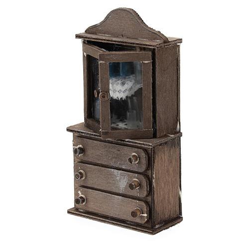 Credenza con cassettiera legno presepi 11 cm 3