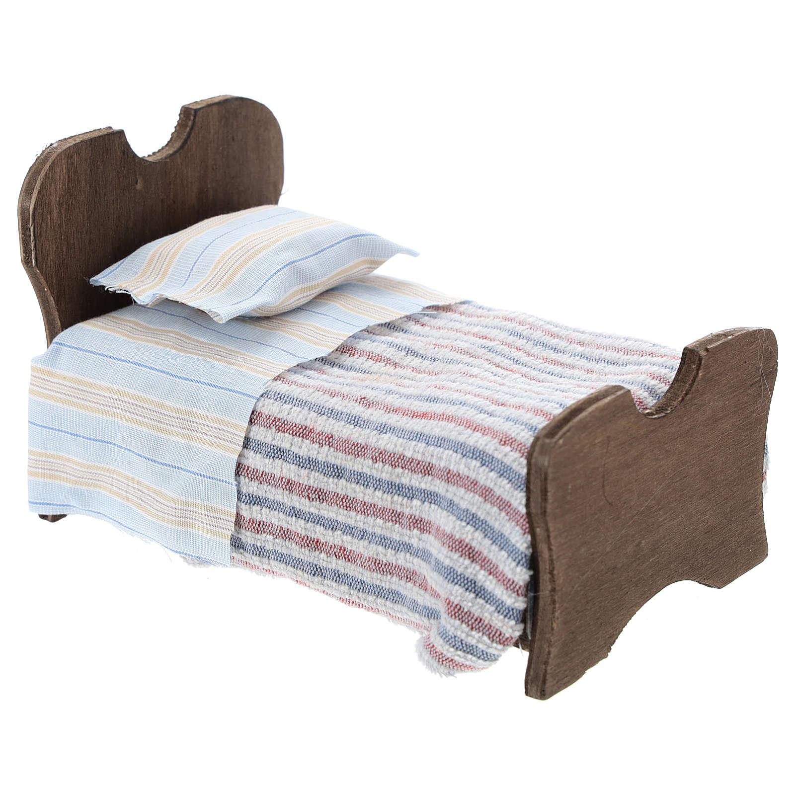 Cama de madera sábana y manta de tela 10 cm 4