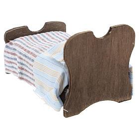 Cama de madera sábana y manta de tela 10 cm s4